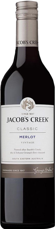 Jacobs Creek Classic Merlot 2019 (12 x 750mL), SE AUS.