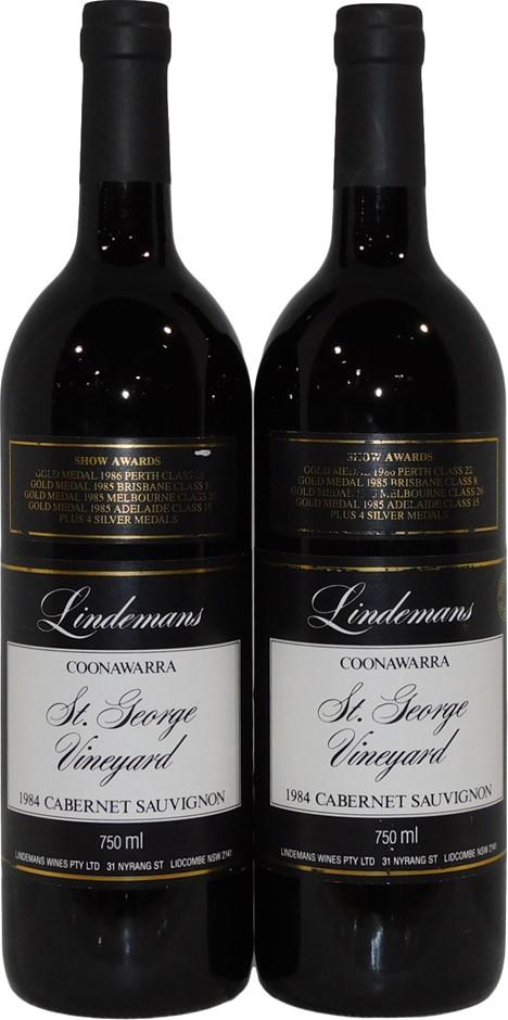 Lindemans St George Coonawarra Cabernet Sauvignon 1984 (2 x 750mL), SA