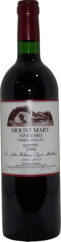 Mount Mary Yarra Valley Quintet 2006 (1x 750mL), VIC, Cork.