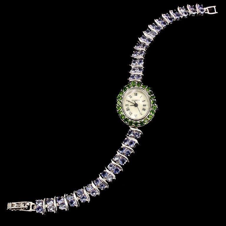 Gorgeous Genuine Tanzanite & Chrome Diopside Watch