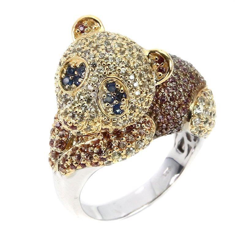 Gorgeous Unique Genuine Sapphire Panda Ring.