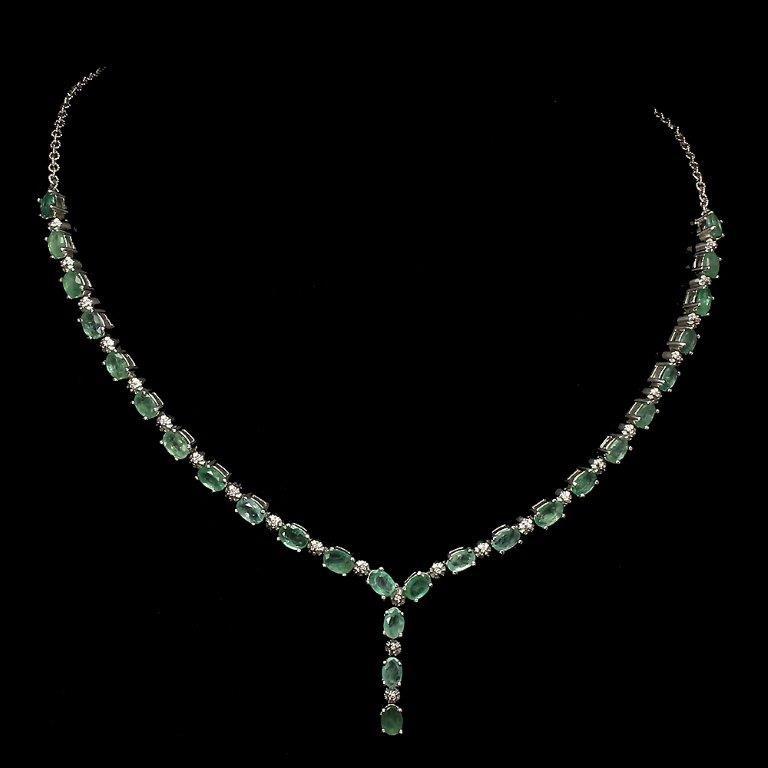 Stunning Genuine Emerald Tennis Necklace.