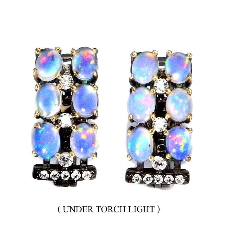 Unique Genuine Fire Opal Huggie Earrings