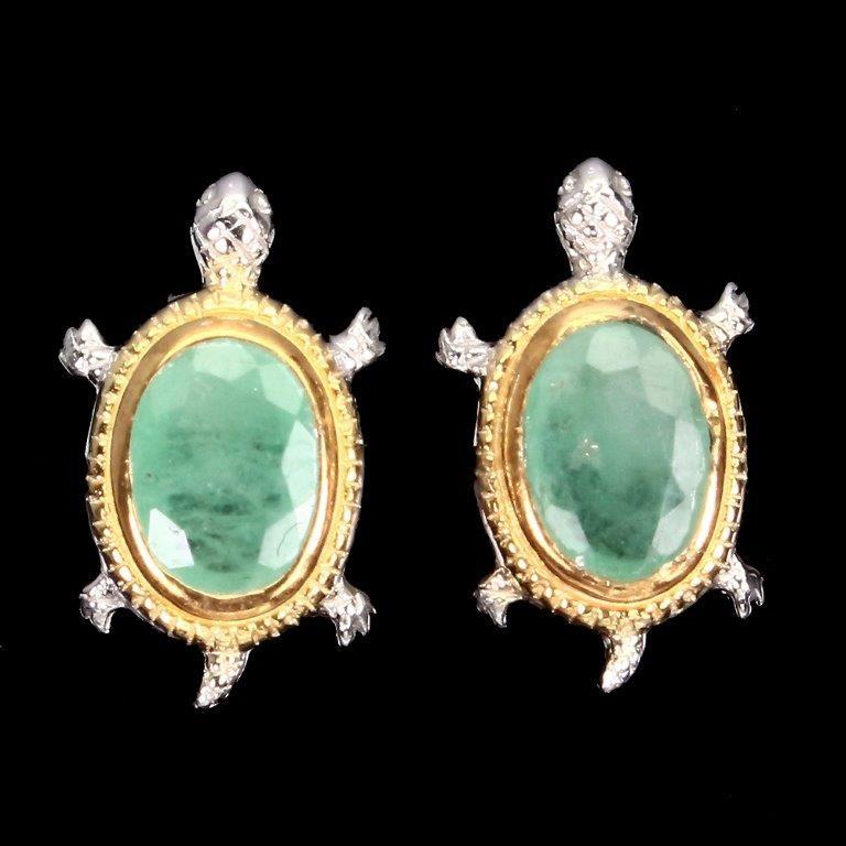 Cute Genuine Emerald Turtle Stud Earrings
