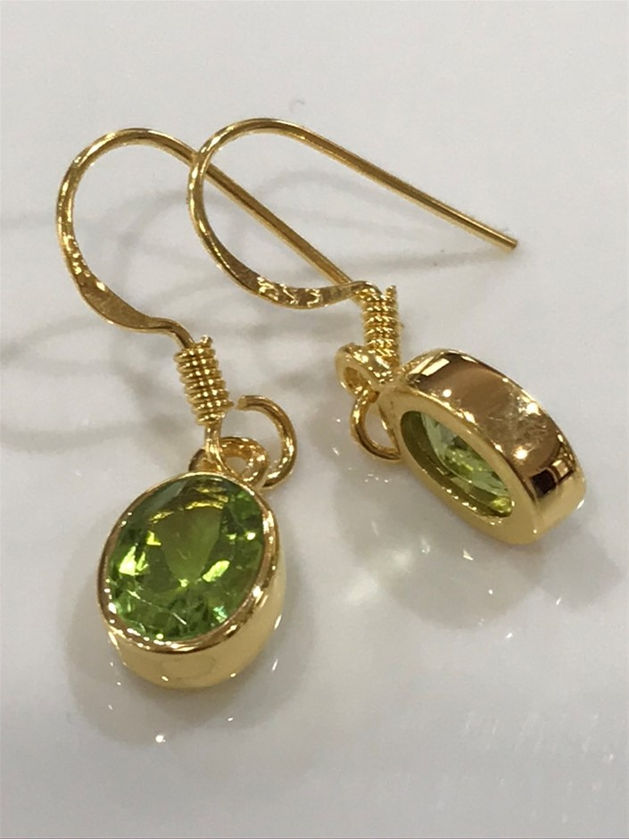 Eye Catching 3.00ct Peridot & 18K Gold Vermeil Drop Earrings