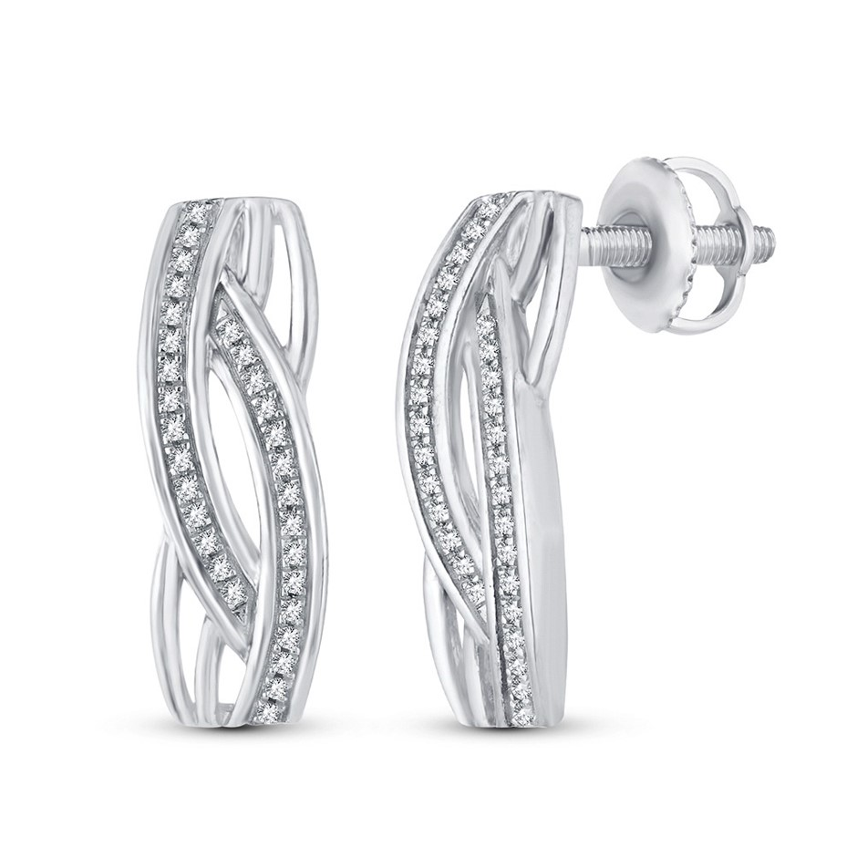 9ct White Gold, 0.13ct Diamond Earring