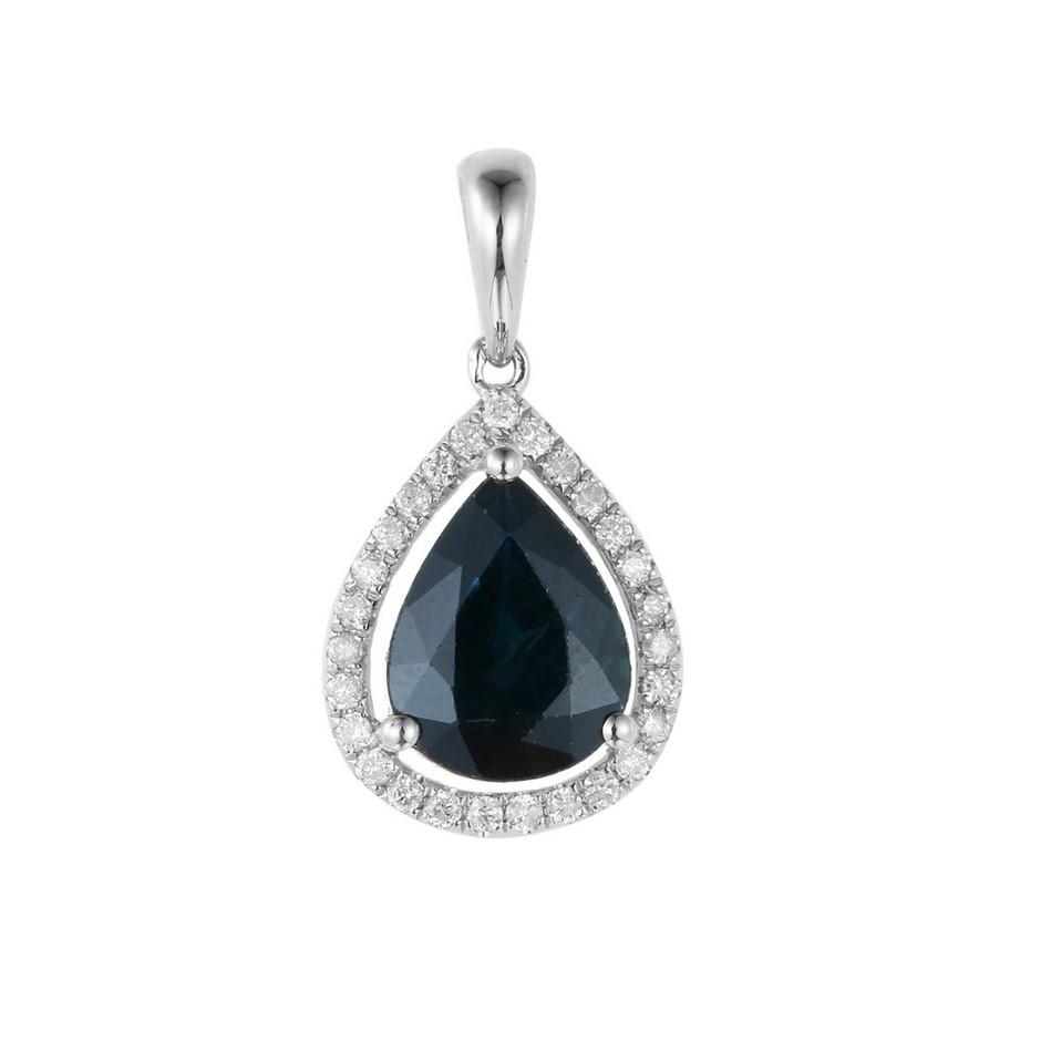 9ct White Gold, 2.04ct Blue Sapphire and Diamond Pendant