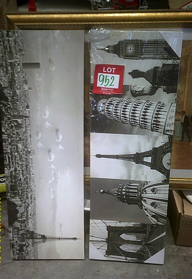 Two stretched canvas prints. Each one measures 900mm x 300mm