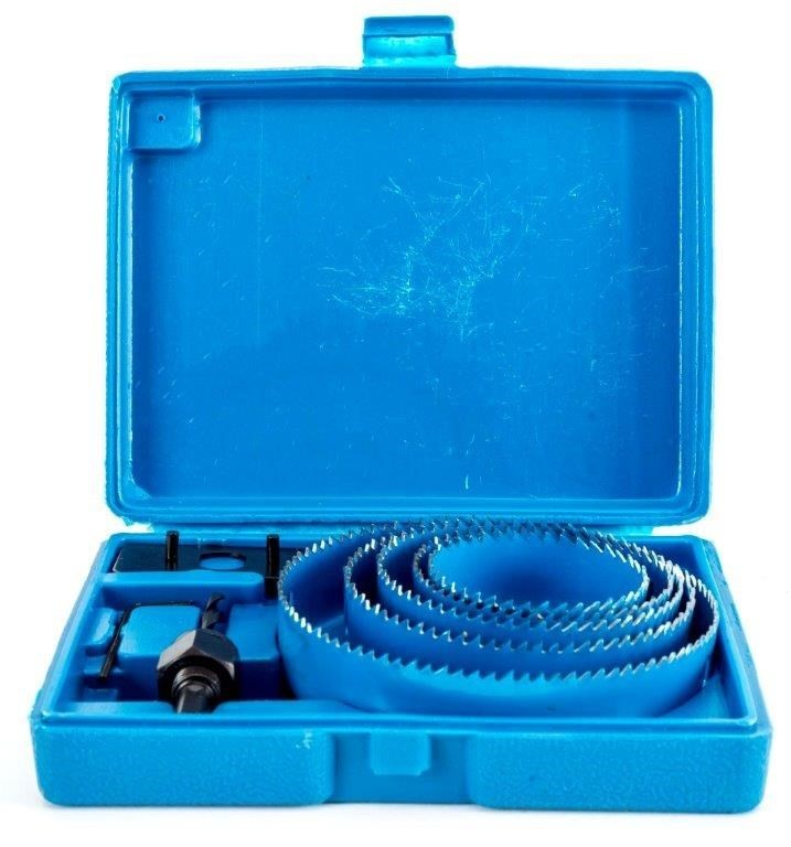 BERENT 8pc Hole Saw Set Sizes 125, 100, 90, 75 & 65 dia In Moulded Carry Ca
