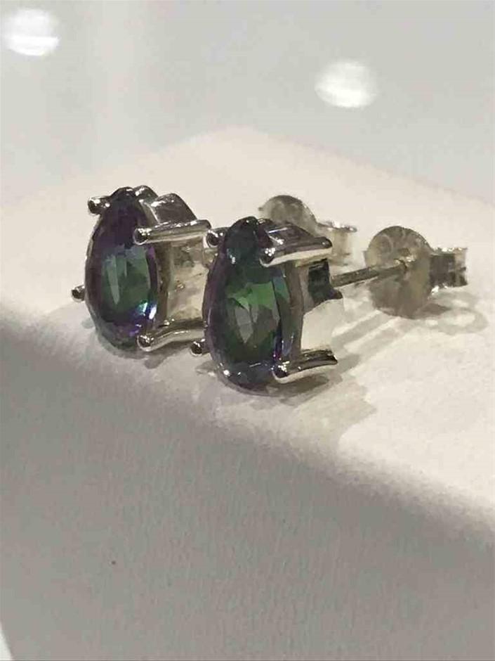 Stunning 2.00ct Mystic Topaz Stud Earrings
