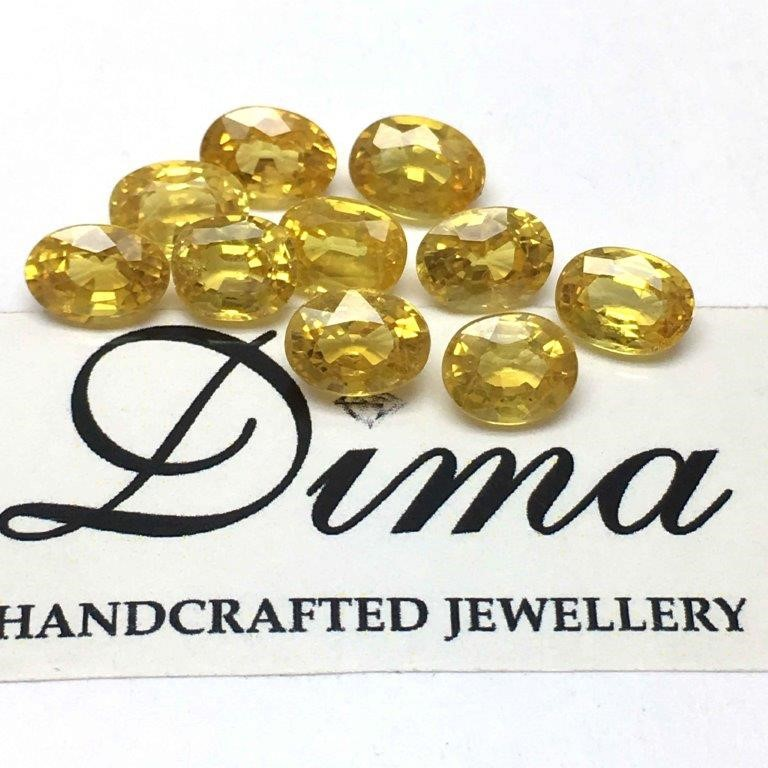 Ten Loose Yellow Sapphire, 12.38ct in Total