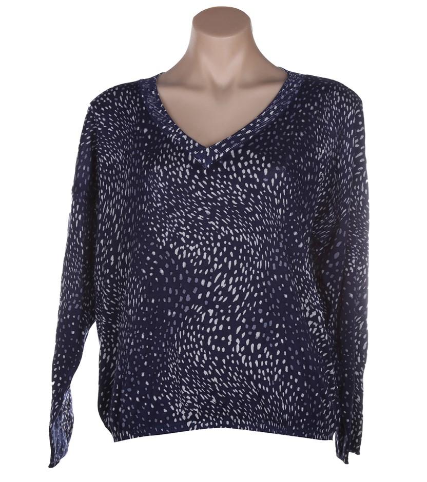 BETTINA LIANO Women`s Printed Sweater, Size M, Viscose/Cotton, Mini Spot. B