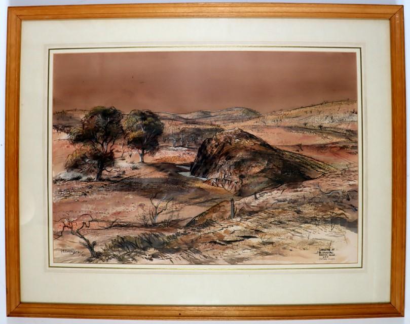 KENNETH JACK(b.1924-2006)Watercolour/Ink 'Landscape at.. Barrier Range NSW'