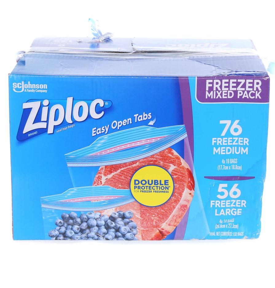ZIPLOC Freezer Mixed Pack Comprising; 76 x Freezer & 56 x Freezer Large. N.