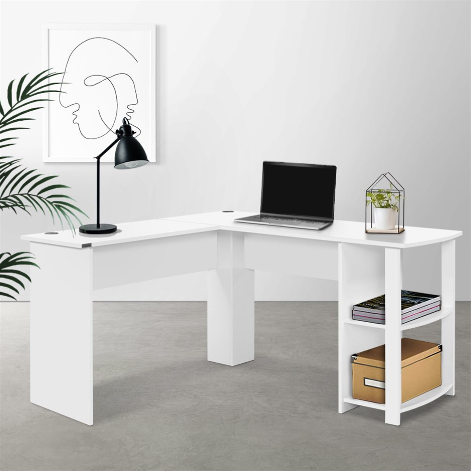 Artiss Office Computer Desk Corner Table Workstation L-Shape Shelf White