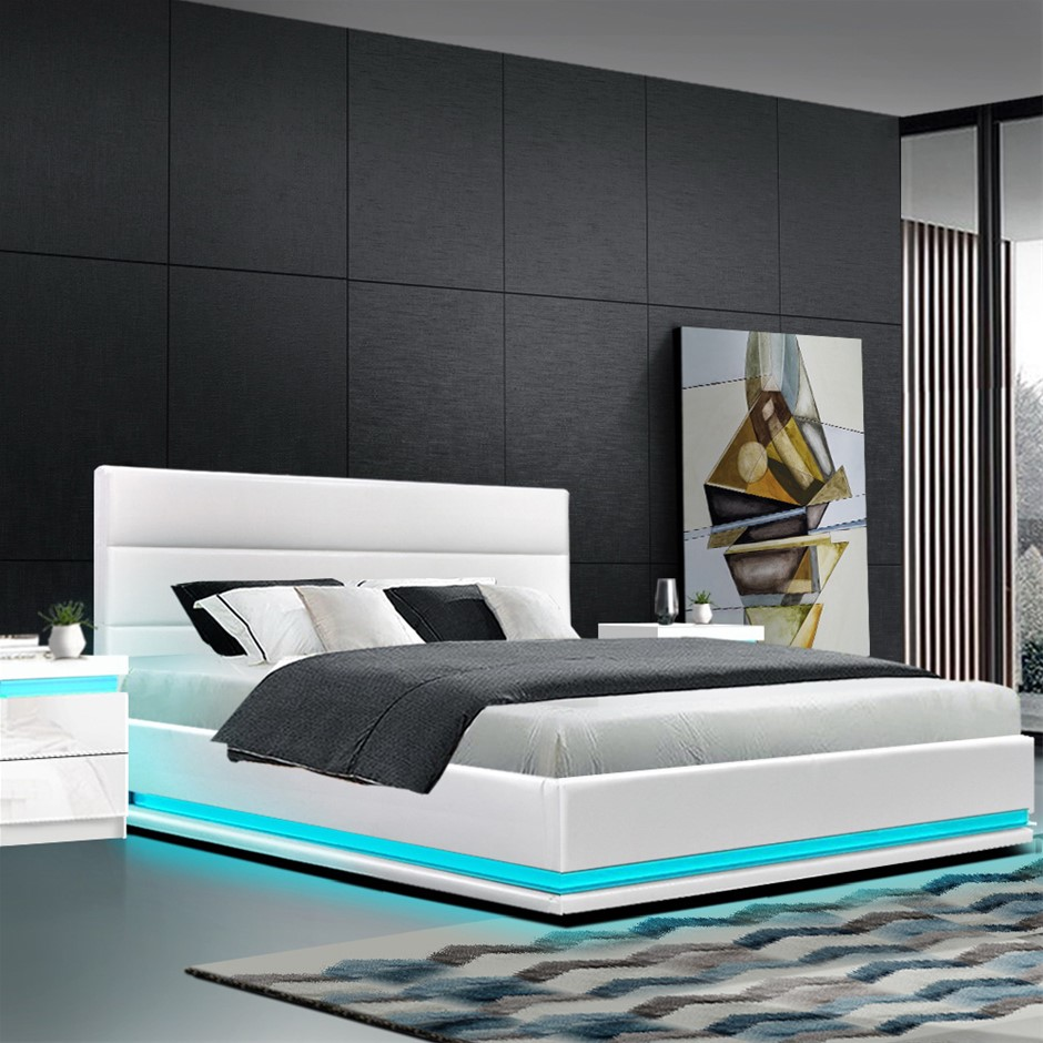 Artiss RGB LED Bed Frame King Size Gas Lift Base Storage White Leather LUMI
