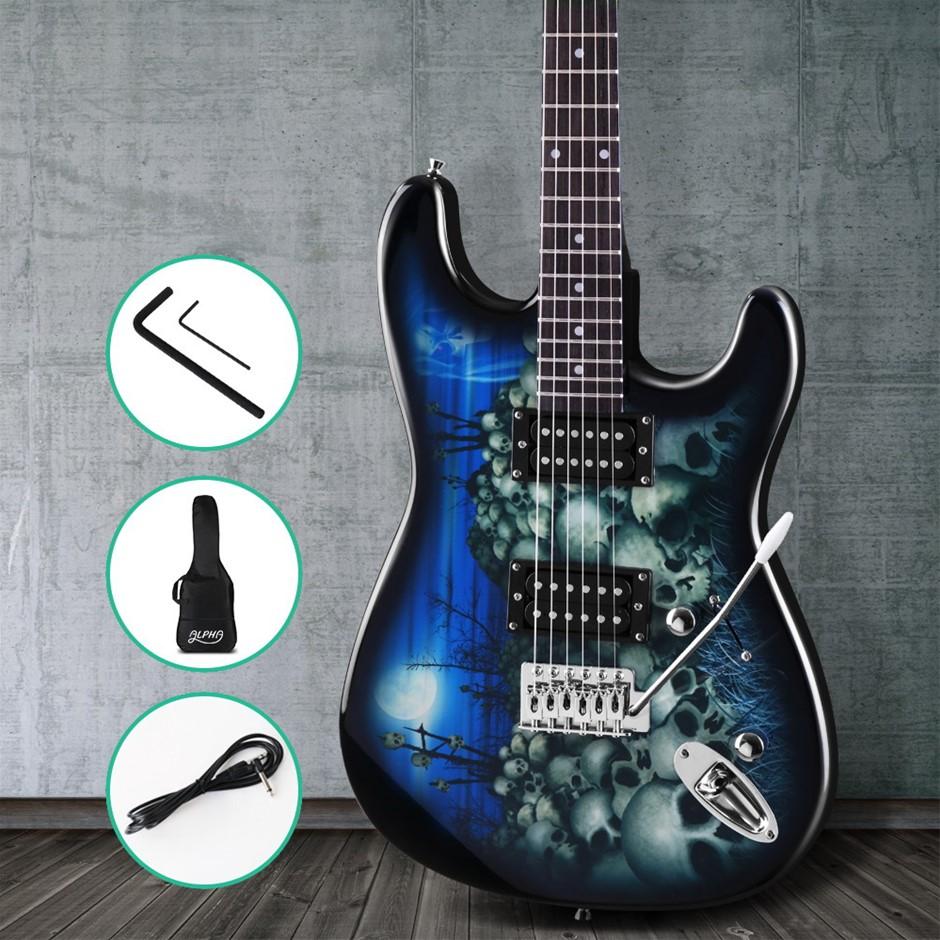 Alpha Electric Guitar Music String Instrument Rock Blue Carry Bag Steel