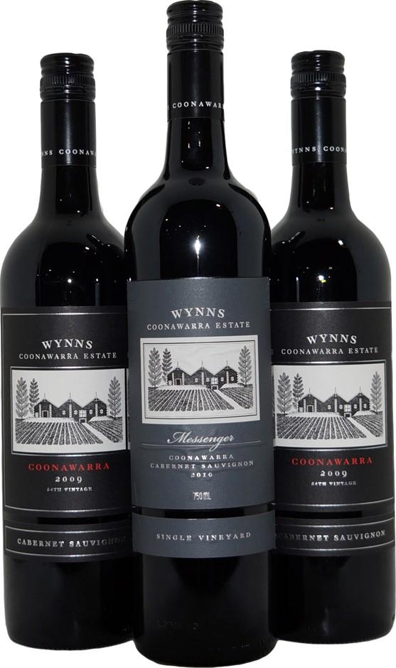 Mixed Pack of Wynns Coonawarra Cabernet Sauvignon 2009/2010 (3x 750mL), SA