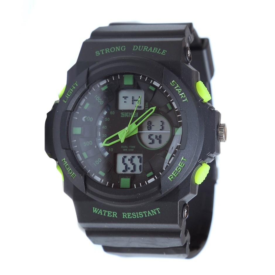 SKMEI Digital Sports Wrist Watch, Water Resistant to 50M, PU Leather Black