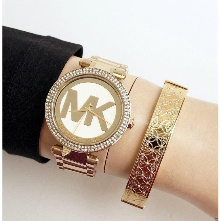 New Michael Kors Parker signature MK gold plated watch.
