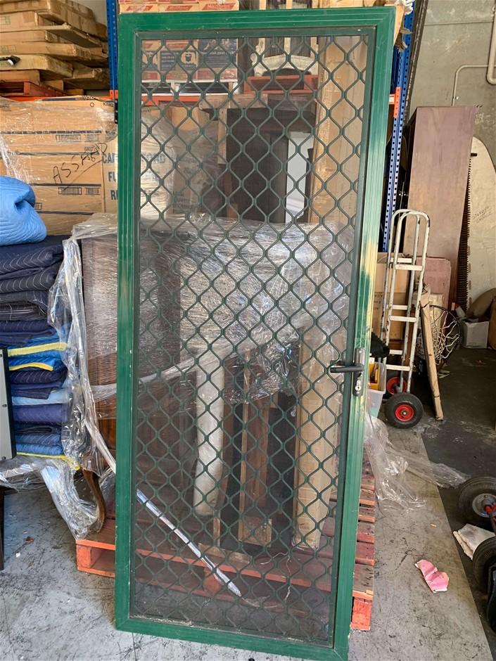 Mesh Security Screen Door, Bottom Hinge Rusted, Approx.(mm) 2300 H x 810 W