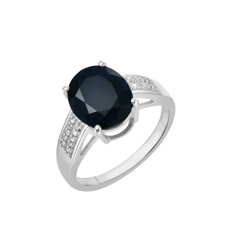 9ct White Gold, 4.74ct Blue Sapphire and Diamond Ring