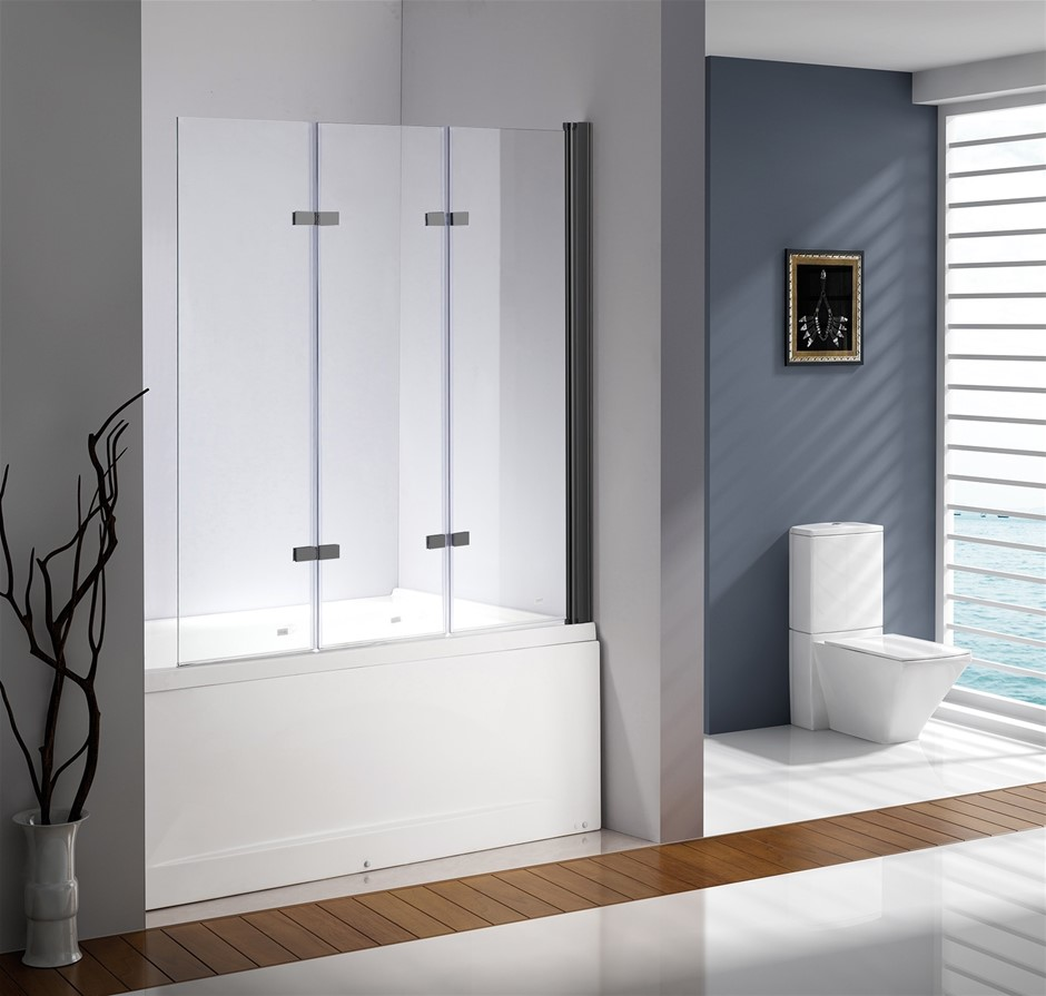 3 Fold Black Folding Bath Shower Screen Door Panel 1300mm x 1400mm