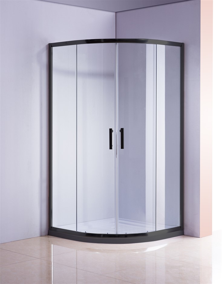 100 x 100cm Black Rounded Sliding 6mm Curved Shower Screen with White Base