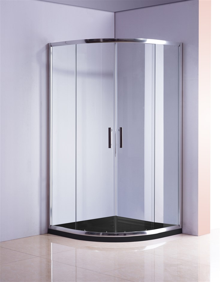 100 x 100cm Chrome Rounded Sliding 6mm Curved Shower Screen with Black Base