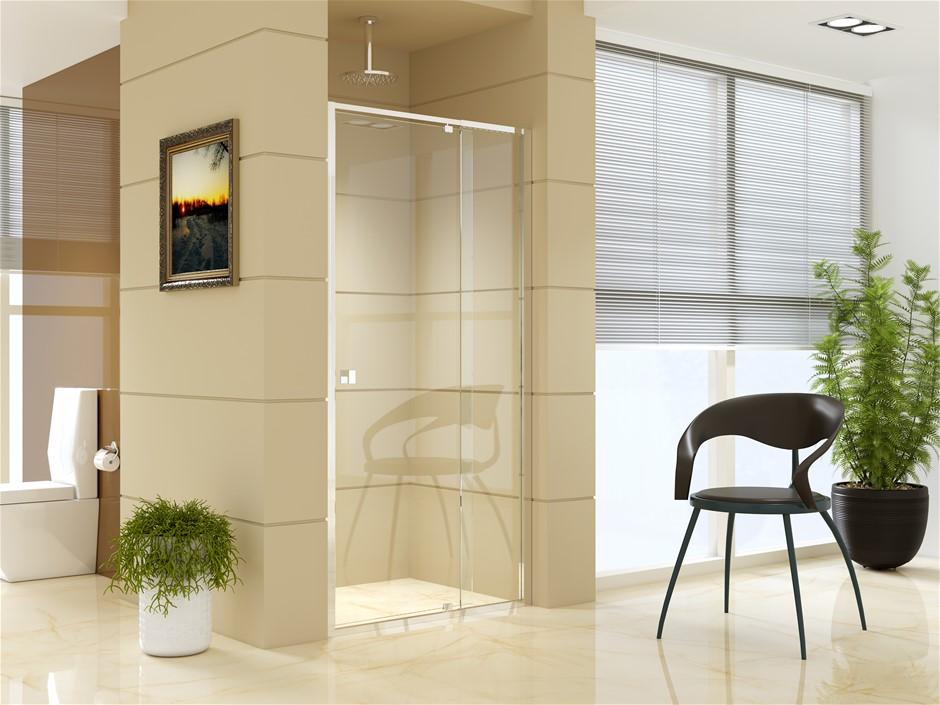 Adjustable Semi Frameless Shower Screen (98~106) x 195cm AS Glass
