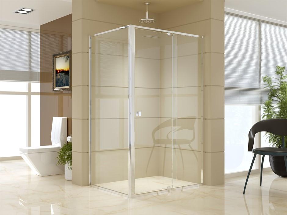 Semi Frameless Shower Screen (114~122)x 195cm & (89~92)x 195cm Side