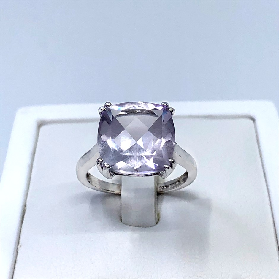 Stunning 925 Sterling Silver 6.33ct Pink Amethyst Ring