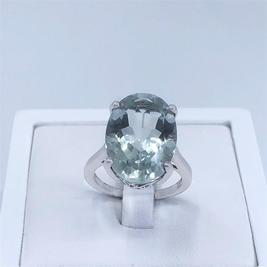 Elegant Sterling Silver 11.17ct Green Amethyst Ring