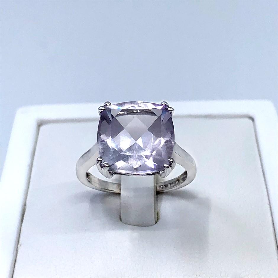 Elegant Sterling Silver 6.33ct Pink Amethyst Ring