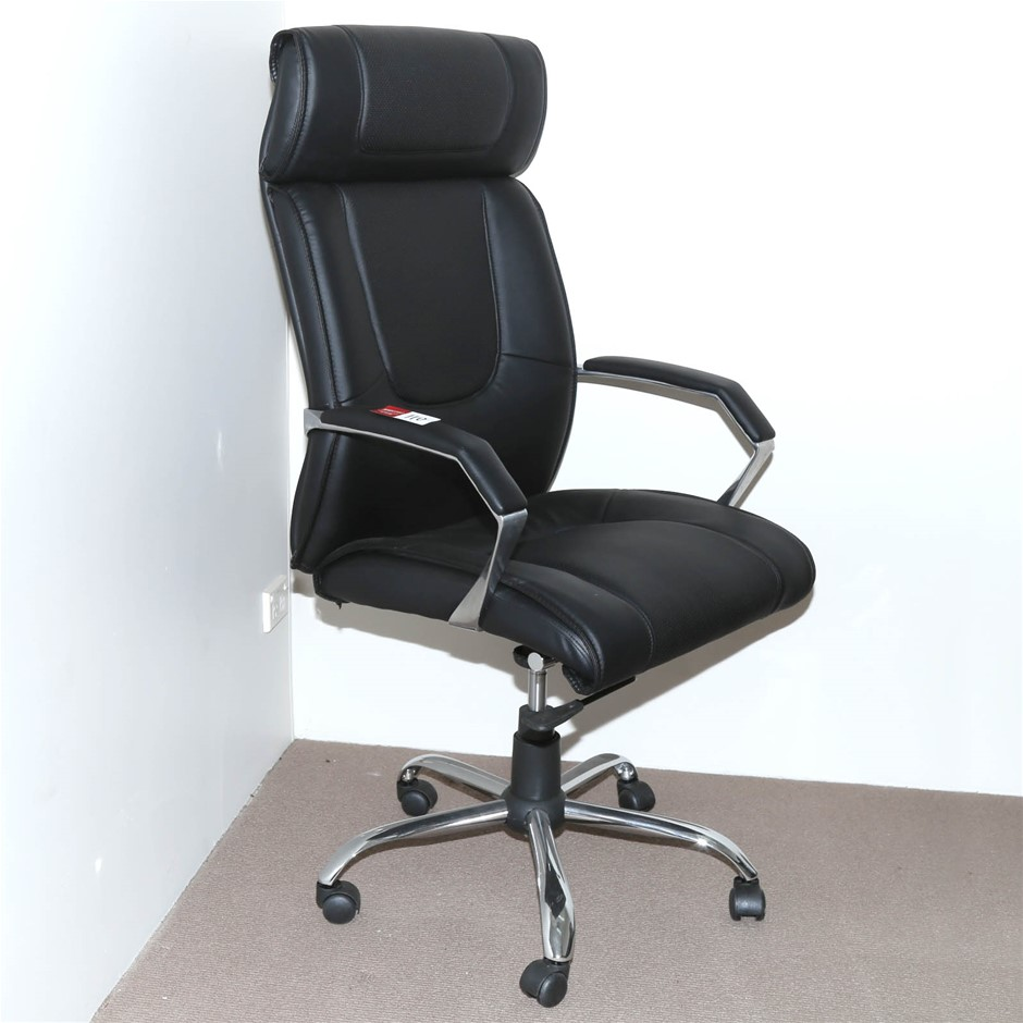 Executive Armchair Hi-Back Black Leatherette Upholstered