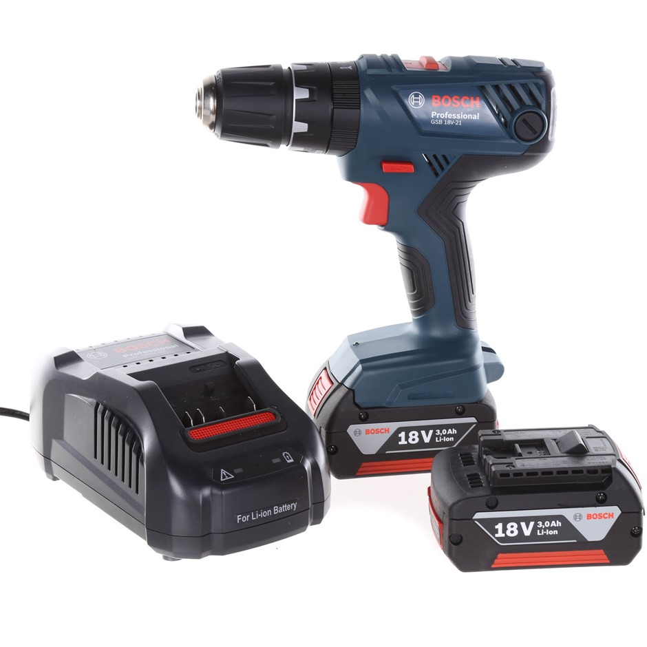 BOSCH 18V Professional Hammer Drill c/w 3.0Ah Battery and Charger in Tool B