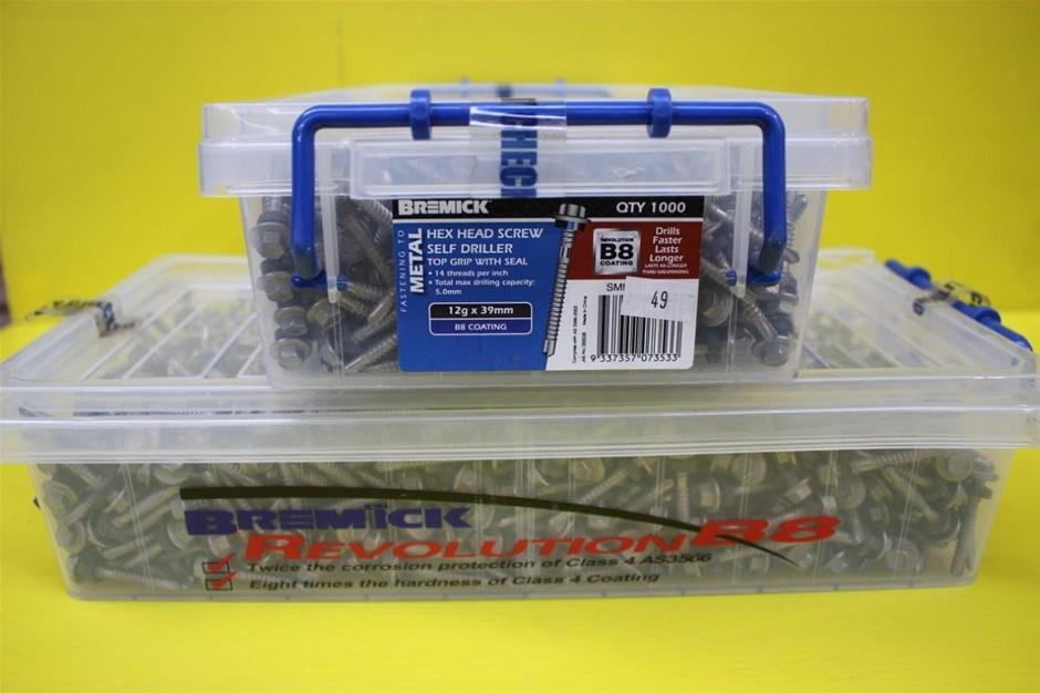 Bremick 12G x 39mm Hex Head Screws - 1000 Pack