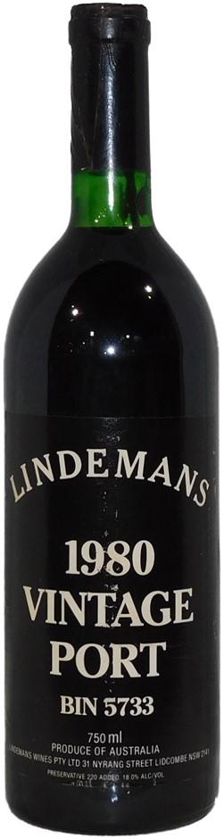 Lindemans Bin 5733 Vintage Port 1980 (1 x 750mL), AUS. Cork