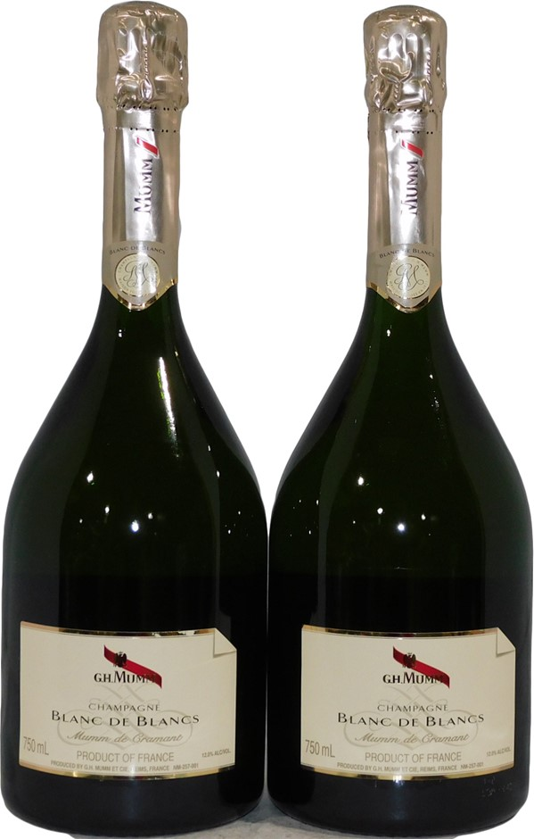 GH Mumm Blanc De Blancs Mumm De Cremant NV (2x 750mL), France. Cork