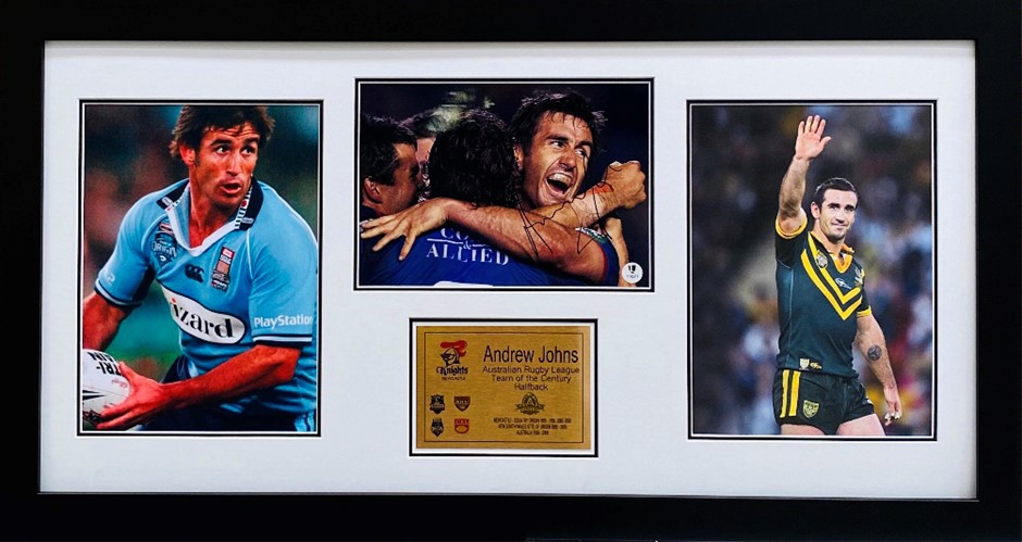 Andrew Johns Half Back Of The Century Hand Signed Photo Collage Framed