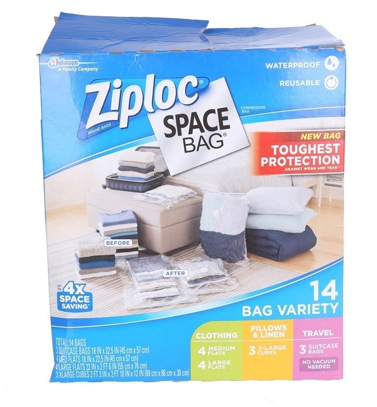 ZIPLOC Compression Space Bag Variety Box of 14 Bags. N.B. Opened Packaging.