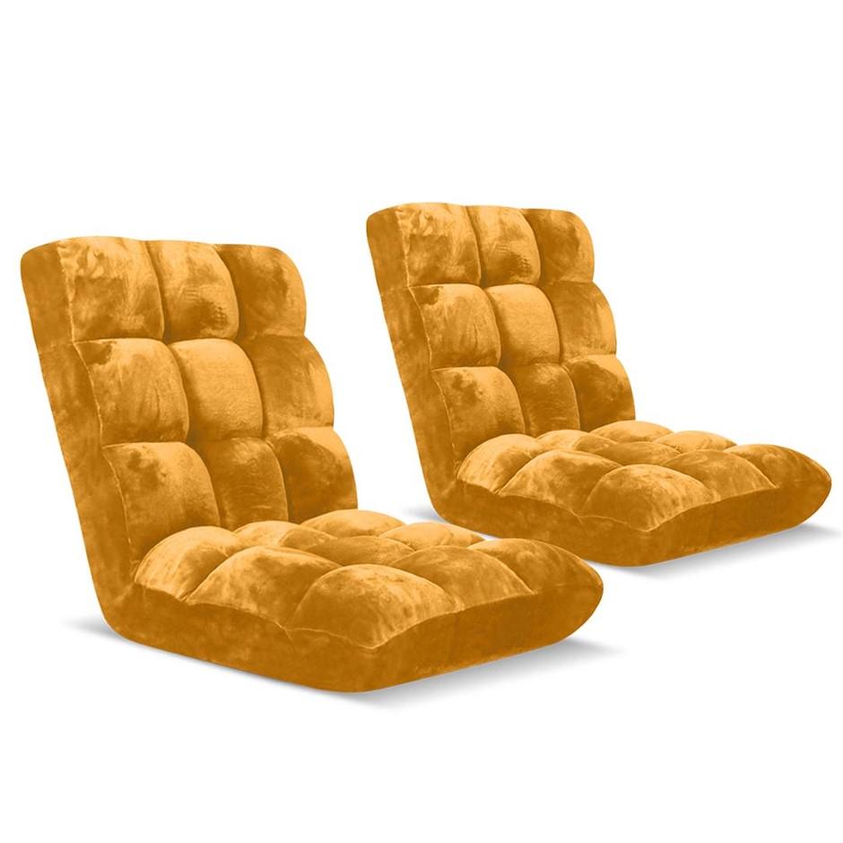 SOGA Floor Recliner Folding Lounge Sofa Folding Chair Cushion Apricot x2