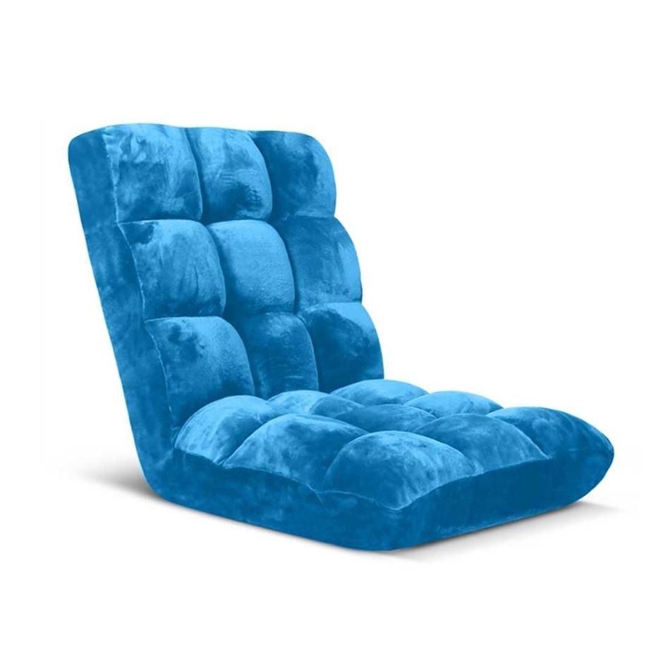 SOGA Floor Recliner Folding Lounge Sofa Futon Couch Chair Cushion Blue