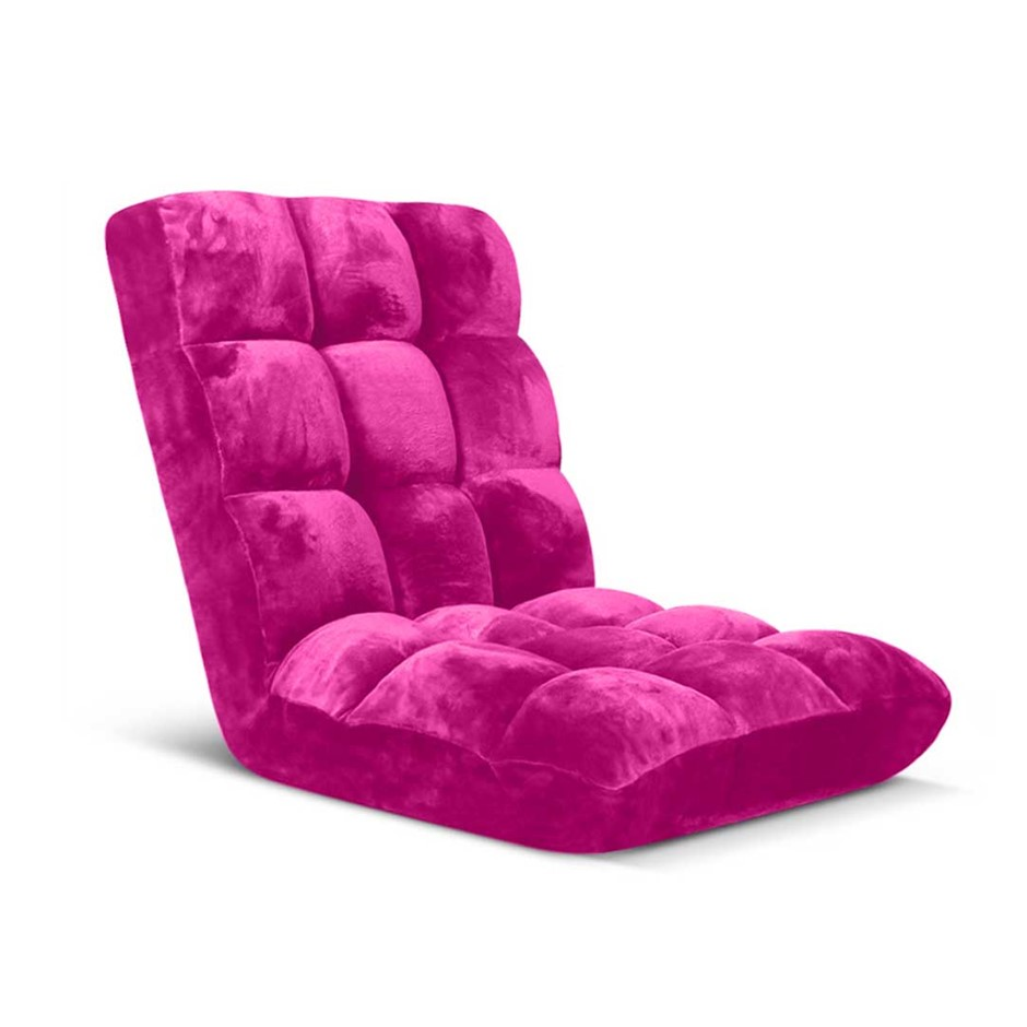SOGA Floor Recliner Folding Lounge Sofa Futon Couch Chair Cushion Pink