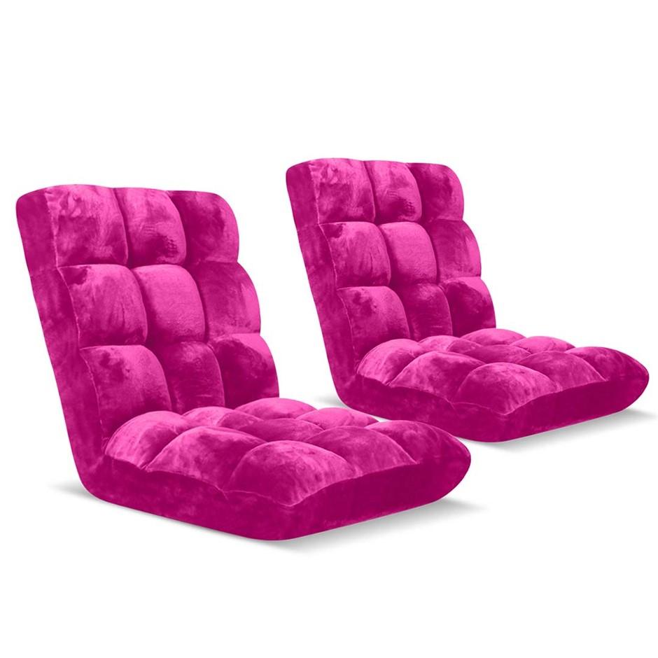 SOGA Floor Recliner Folding Lounge Sofa Folding Chair Cushion Pink x2