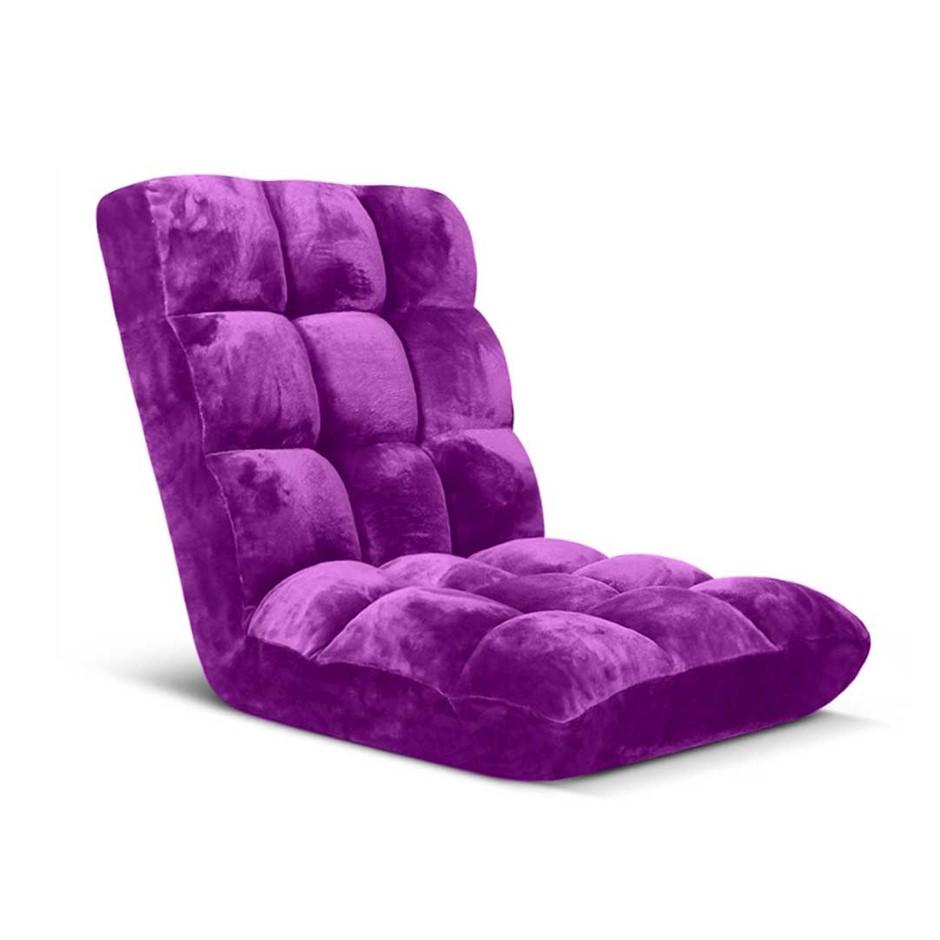 SOGA Floor Recliner Folding Lounge Sofa Futon Couch Chair Cushion Purple