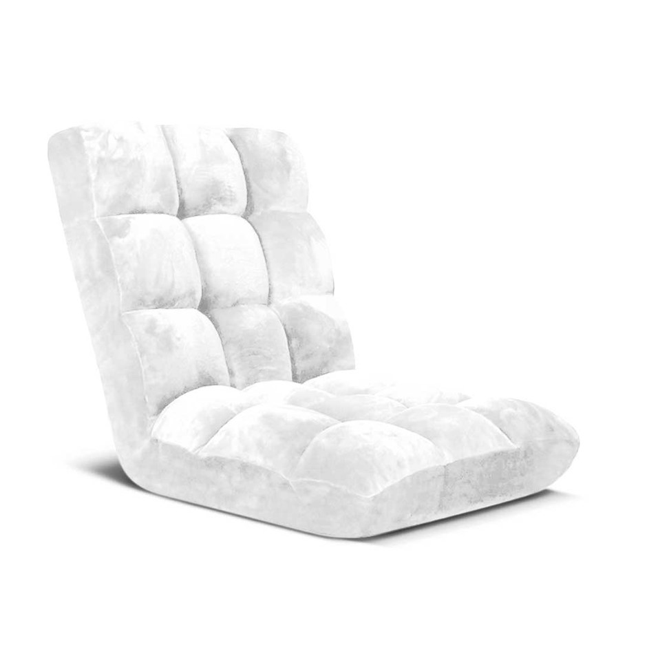 SOGA Floor Recliner Folding Lounge Sofa Futon Couch Chair Cushion White