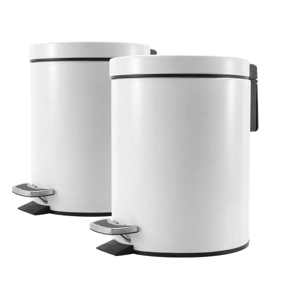 SOGA 2X Foot Pedal S/S Rubbish Waste Trash Bin Round 12L White