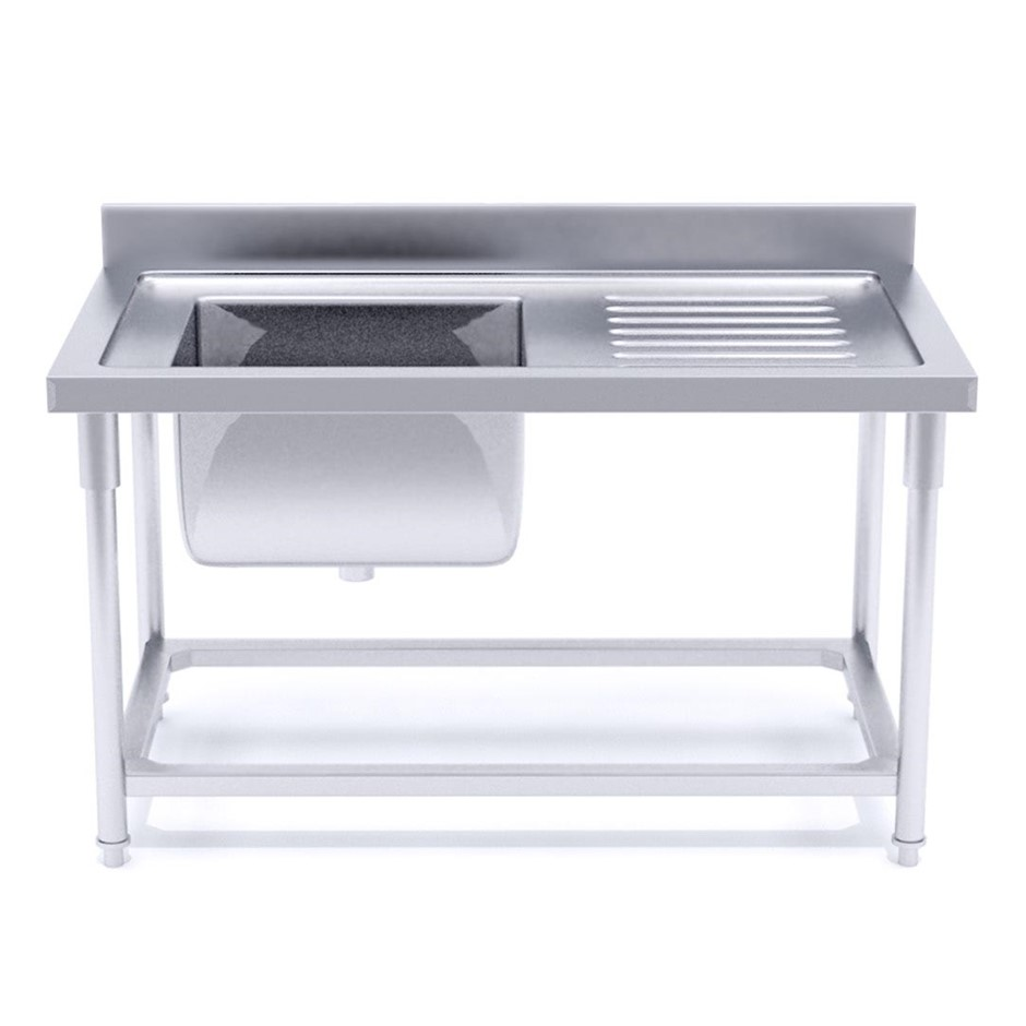 SOGA S/S Work Bench Sink Commercial Kitchen Food Prep 140*70*85cm