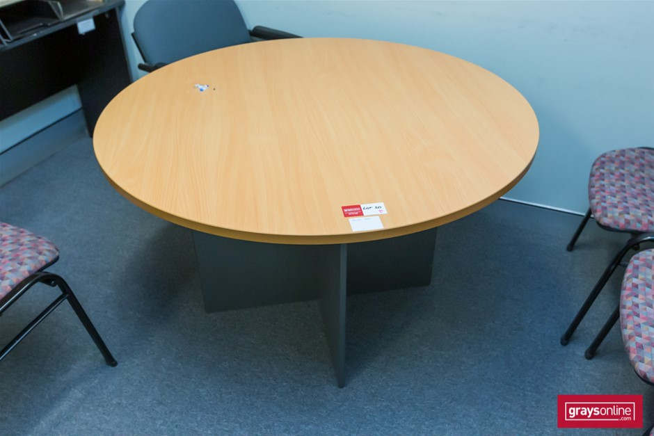 Tan Round Office Table
